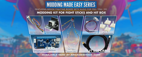 UNIVERSAL MODDING KIT w/Brook PS4/PS3 Fighting Board / Custom USB Cables / 20-pin Harness / USB Pass-Thru (Modding Made Easy Series)