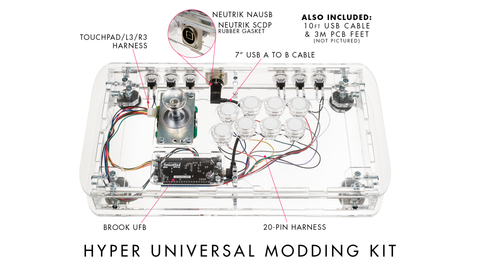 UNIVERSAL MODDING KIT: HYPER EDITION w/Brook UFB / Custom USB Cables / 20-pin and Touchpad Harness / Neutrik (Modding Made Easy Series)