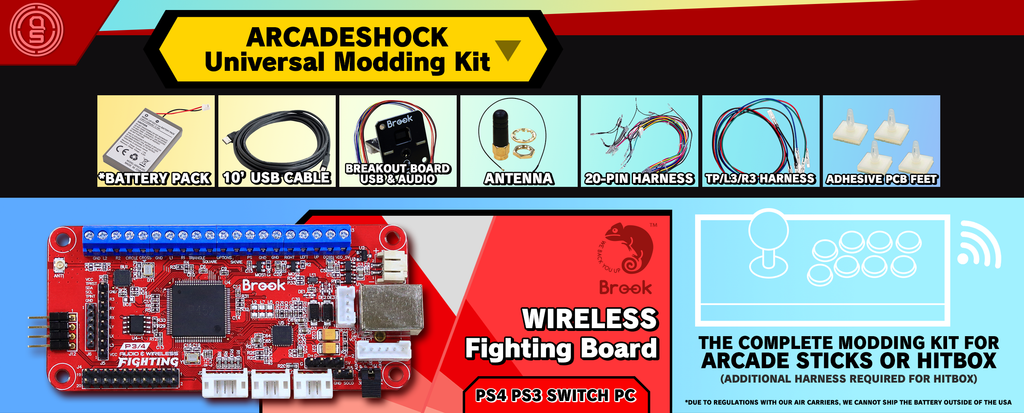 UNIVERSAL MODDING KIT: WIRELESS Edition w/ Brook Fighting Board