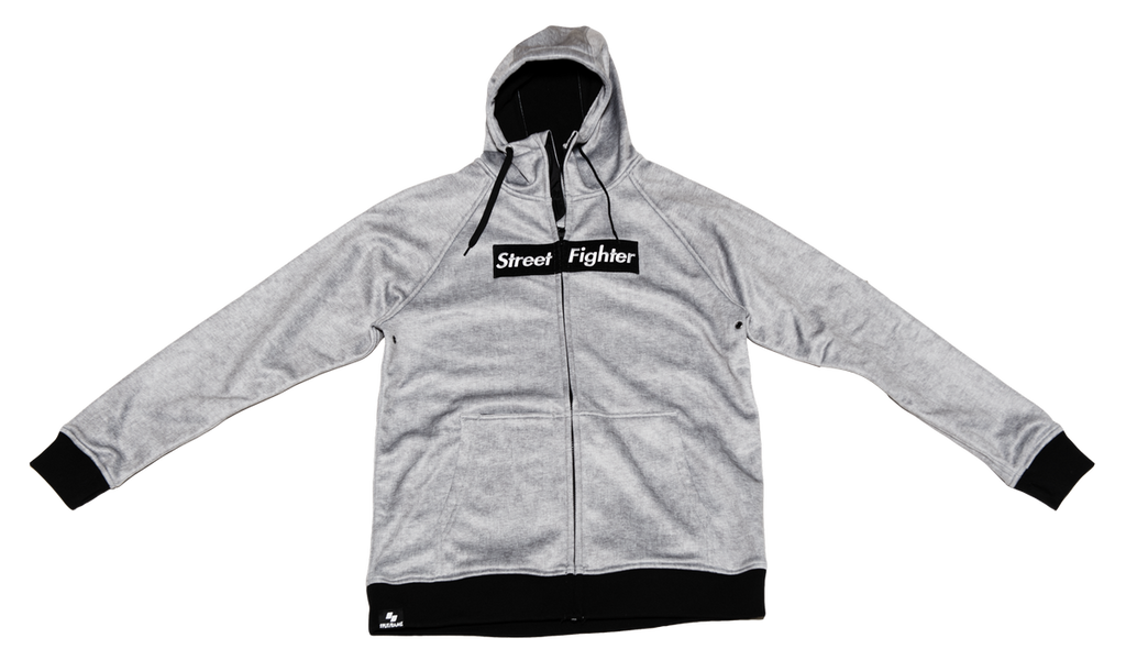 STREET FIGHTER BOX LOGO (GREY MELANGE) Tech Zip-Up Hoodie [FGC PROMO 25% OFF]