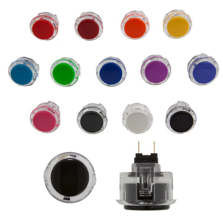 Sanwa Denshi 30mm HALF CLEAR Pushbutton ( OBSC30 - HALF CLEAR)