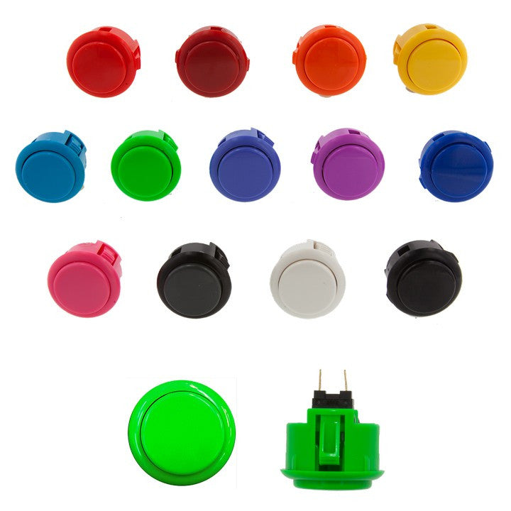 Sanwa Denshi 30mm Solid Color SILENT Pushbutton ( OBSFS30 - XX )