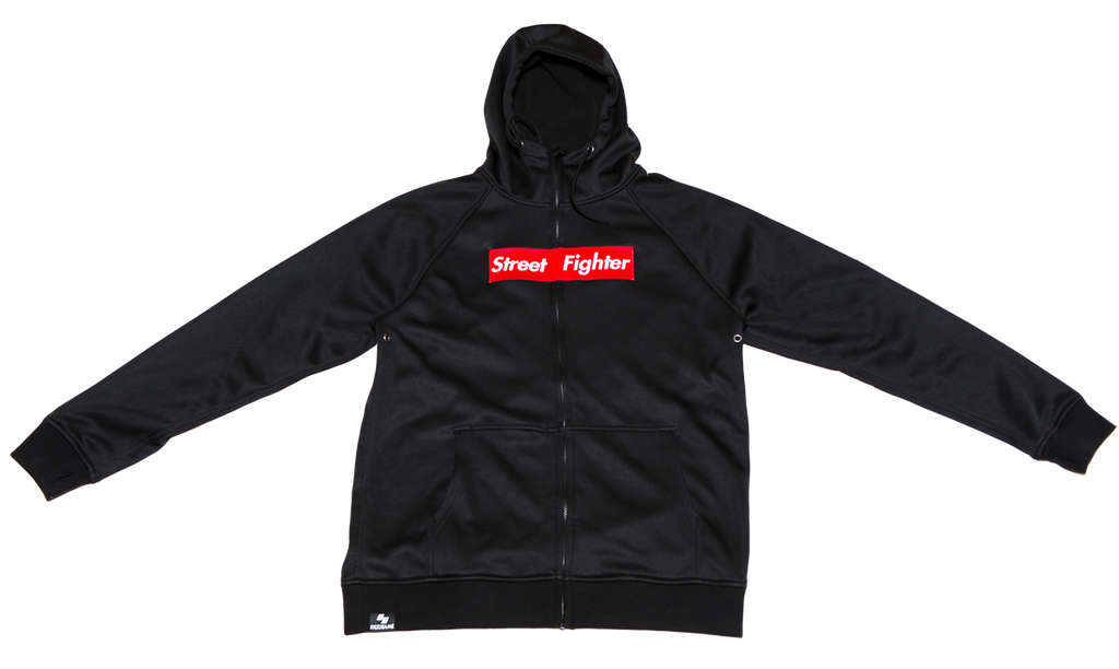 Street Fighter Box Logo (Red) Black Tech Zip-Up Hoodie