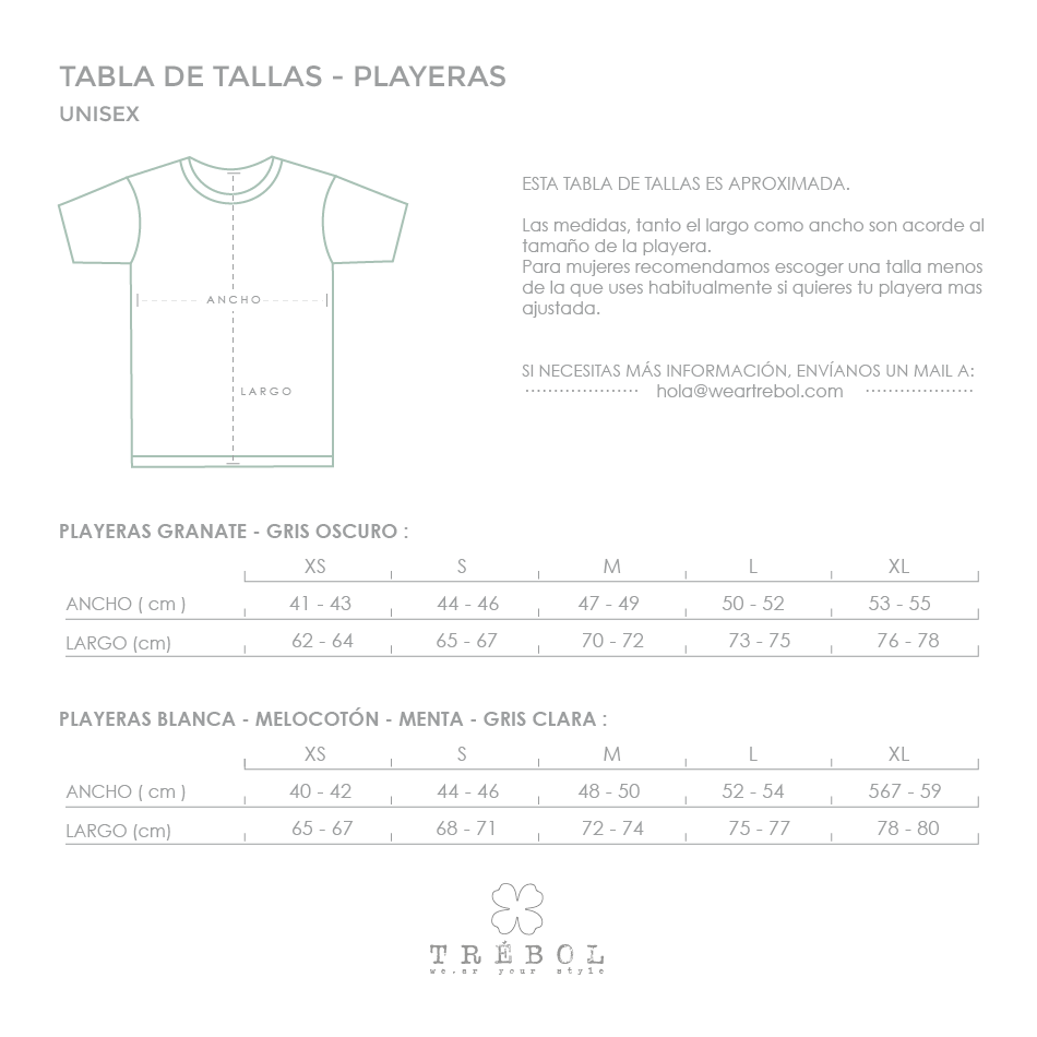 Tabla de tallas playeras Trebol