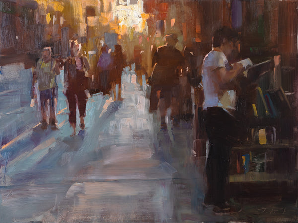 """Sidewalk Sale at the Strand"" by Patrick Saunders"