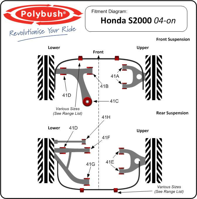 POLYBUSH HONDA S2000 AP2 FULL KIT - 116 - TDi North