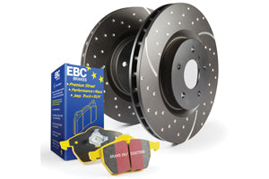 EBC BRAKES YELLOW PADS AND SLOTTED AND DIMPLED DISC KIT TO FIT FRONT - MAZDA 3 MPS