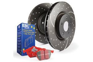 EBC REDSTUFF BRAKE PADS AND DIMPLE AND GROOVE DISCS KIT TO FIT FRONT