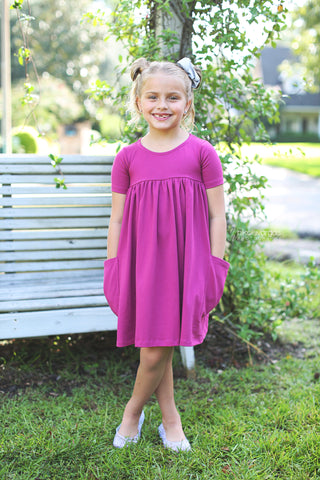 """Polly"" Berry pretty pocket dress"