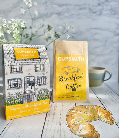 Cupsmith tea and coffee and croissant