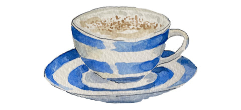 Cornishware cup and saucer with Cupsmith cappuccino