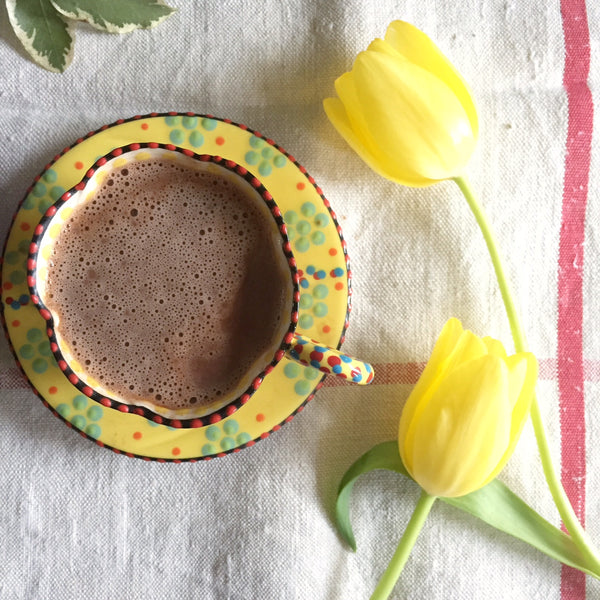 Cup and saucer of hot chocolate