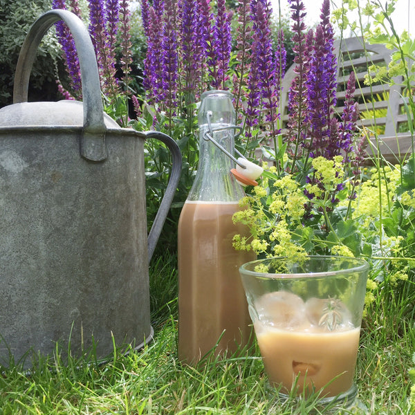 Cupsmith iced coffee in the garden