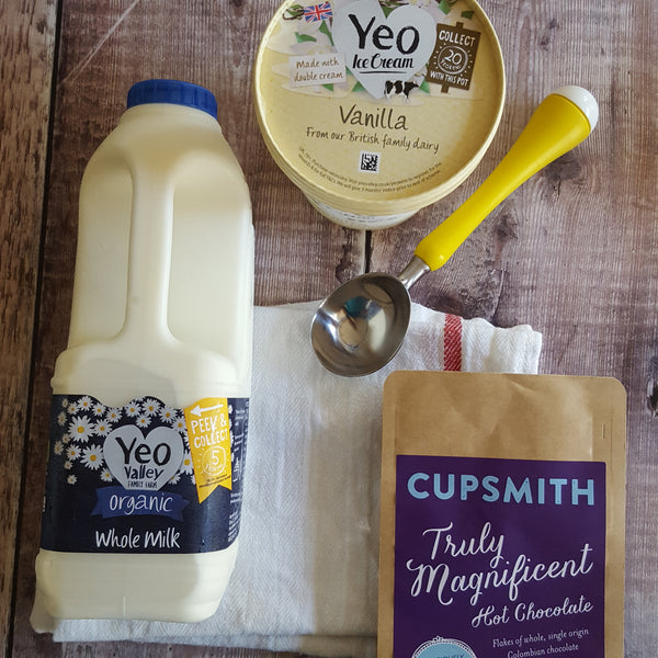 Yeo Valley milk and Yeo Valley ice cream Cupsmith hot chocolate