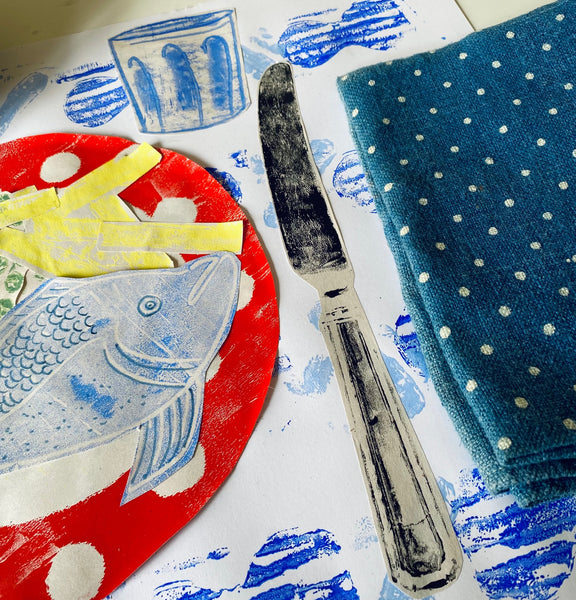 fish and chips monoprint