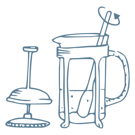 illustration of a cafetiere of coffee