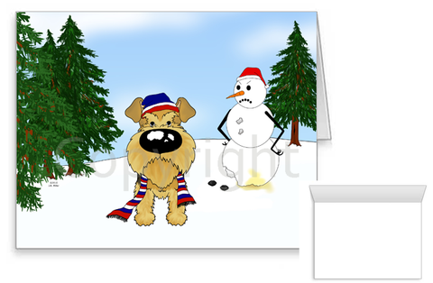 Airedale Terrier Winter Scene Greeting Cards