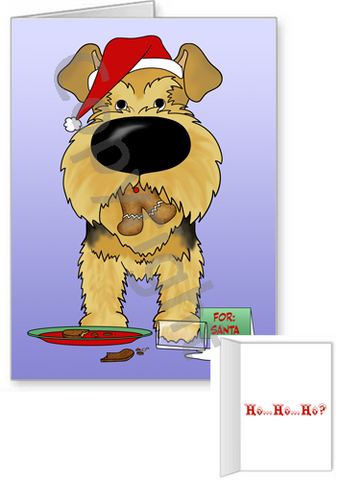 Airedale Terrier Santa's Cookies Greeting Cards