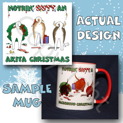 Akita butt christmas coffee mug