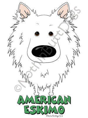 Big Nose American Eskimo Light Colored T-shirts
