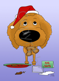 Poodle Santa's Cookies Greeting Cards