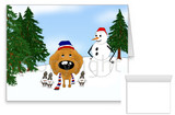 Apricot Poodle Winter Snowman Greeting Cards