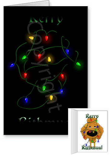 Apricot Poodle Merry Christmas Lights Greeting Cards