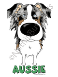 Big Nose Australian Shepherd Light Colored T-shirts