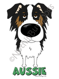 Big Nose Australian Shepherd Dark Colored T-shirts