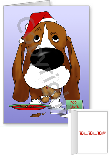 Basset Hound Santa's Cookies Greeting Cards