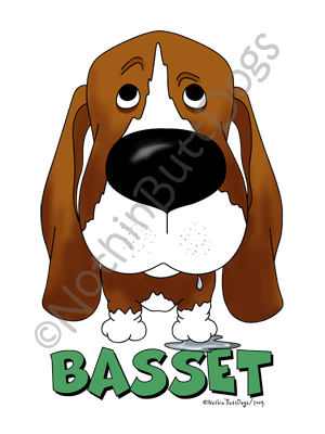 Big Nose Basset Hound Dark Colored T-shirts