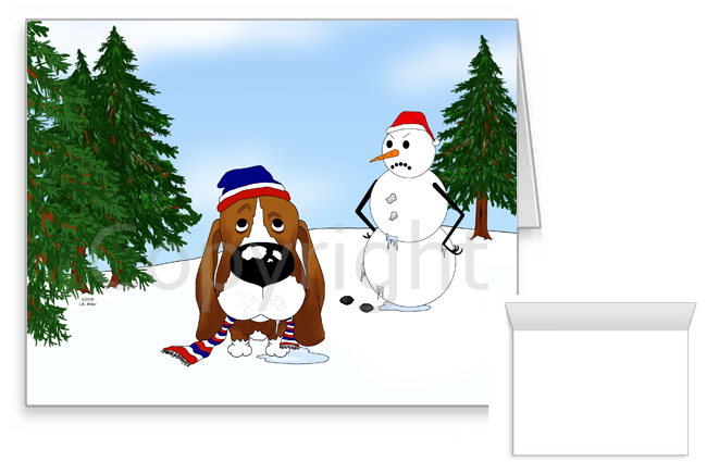 Basset Hound Winter Snowman Greeting Cards