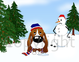 Basset Hound Winter Scene Greeting Cards