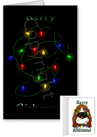Basset Hound Merry Christmas Lights Greeting Cards