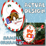 Basset Hound Santa Hat Christmas Ornament