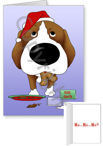 Beagle Santa's Cookies Greeting Cards