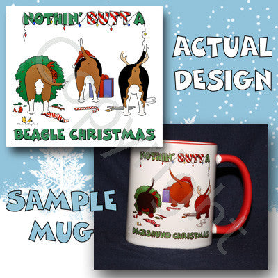 Beagle butt christmas coffee mug