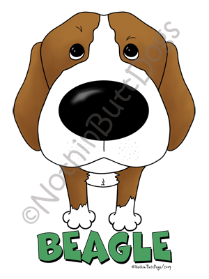 Big Nose Beagle Light Colored T-shirts