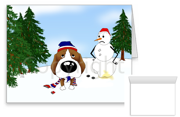 Beagle Winter Snowman Greeting Cards