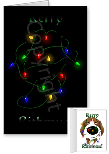 Beagle Merry Christmas Lights Greeting Cards