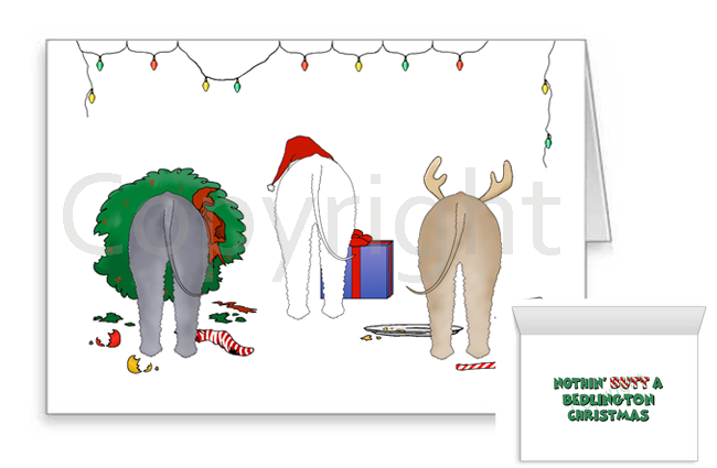 Nothin' Butt A Bedlington Terrier Christmas Greeting Cards