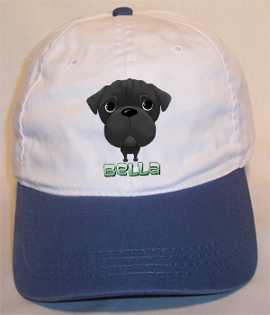 Custom Bella Cotton Cap - White w/Blue Bill