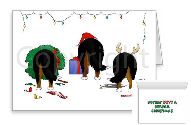 Nothin' Butt A Bernese Mountain Dog Christmas Greeting Cards