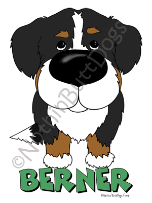 Big Nose Bernese Mt. Dog Light Colored T-shirts