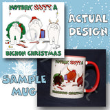 Bichon Frise butt christmas coffee mug