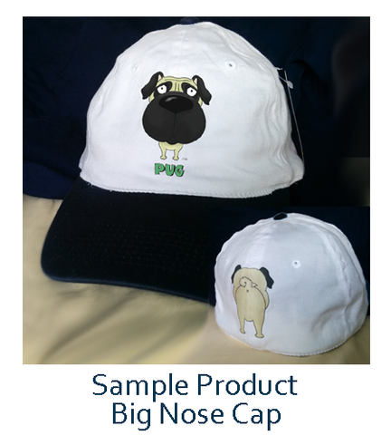 Big Nose Pug Baseball Cap - Navy/White