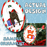 French Bulldog Santa Hat Christmas Ornament