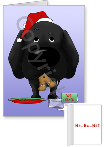 Black Labrador Retriever Santa's Cookies Greeting Cards
