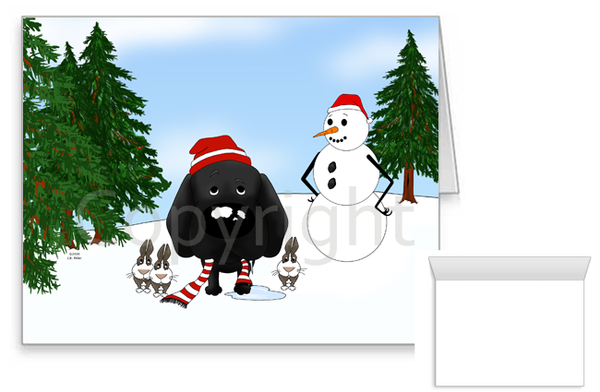 Black Lab Winter Snowman Greeting Cards