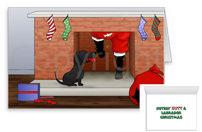 black labrador butt christmas cards